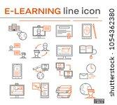 set of e learning icons. | Shutterstock .eps vector #1054362380