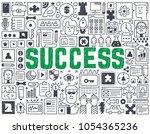 success   hand drawn vector... | Shutterstock .eps vector #1054365236