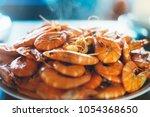 isolated prepared orange shrimp ... | Shutterstock . vector #1054368650