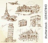 travel over europe   hand drawn ... | Shutterstock .eps vector #105437843