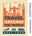 travel poster with... | Shutterstock .eps vector #1054379843