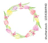 Watercolor Wreath On White...