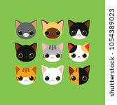 cartoon cat faces of different... | Shutterstock . vector #1054389023