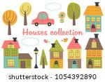 set of isolated houses and... | Shutterstock .eps vector #1054392890
