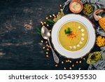 corn soup with fresh vegetables ...   Shutterstock . vector #1054395530