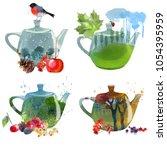Seasons Tea Set. Watercolor...