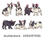 Stock vector illustrations set of cute little french bulldog funny pictures of puppy vector french bulldog 1054397030
