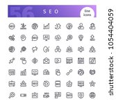set of 56 seo line icons... | Shutterstock .eps vector #1054404059