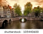 Stock photo beautiful amsterdam canals with typical houses 105440600