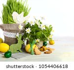 easter background with colored... | Shutterstock . vector #1054406618