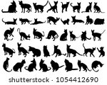 silhouette cat on white... | Shutterstock .eps vector #1054412690