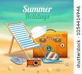 beautiful summer holidays...   Shutterstock .eps vector #1054414946
