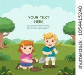 cute kids volunteers planted... | Shutterstock .eps vector #1054415240