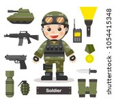 set of characters of soldier... | Shutterstock .eps vector #1054415348