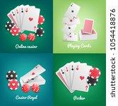 casino online 4 realistic green ... | Shutterstock .eps vector #1054418876