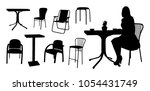 vector chairs  tables and... | Shutterstock .eps vector #1054431749