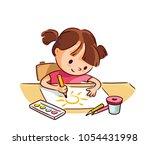 vector sketch of girl drawing | Shutterstock .eps vector #1054431998