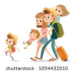 happy family on vacation... | Shutterstock .eps vector #1054432010