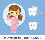 little girl brushing teeth | Shutterstock .eps vector #1054432013