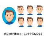 a man with different emotions | Shutterstock .eps vector #1054432016