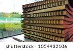 books on the desks in the... | Shutterstock . vector #1054432106