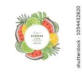 fresh summer fruit round...   Shutterstock .eps vector #1054432820