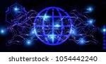 global cyber futuristic... | Shutterstock . vector #1054442240