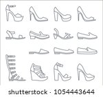 a set of simple outline shoes... | Shutterstock .eps vector #1054443644