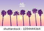 scenic sunset on tropical beach ...   Shutterstock .eps vector #1054444364