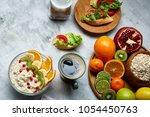 breakfast still life with... | Shutterstock . vector #1054450763