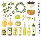 olive oil vector bottle with... | Shutterstock .eps vector #1054451693