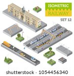 3d isometric train station and... | Shutterstock .eps vector #1054456340