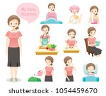 the daily routines of old woman ... | Shutterstock .eps vector #1054459670