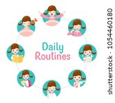 the daily routines of girl on... | Shutterstock .eps vector #1054460180