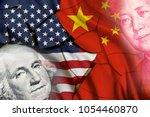 serious trade tension or trade...   Shutterstock . vector #1054460870