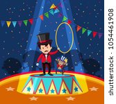 circus trainer and monkey on... | Shutterstock .eps vector #1054461908