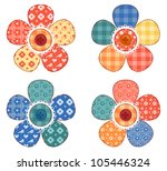 set of four patchwork flower.... | Shutterstock .eps vector #105446324