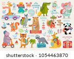 Stock vector travel animals hand drawn style motivation calligraphy and other elements vector illustration 1054463870