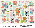 Stock vector travel animals hand drawn style motivation calligraphy and other elements vector illustration 1054463873