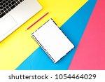 top view office table desk.... | Shutterstock . vector #1054464029