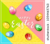 multicolored easter eggs on... | Shutterstock . vector #1054465763