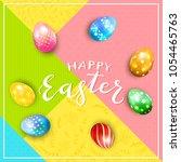 multicolored easter eggs on...   Shutterstock . vector #1054465763