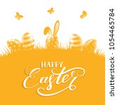 orange background with easter... | Shutterstock . vector #1054465784