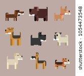 dog breeds. dog with bone.... | Shutterstock .eps vector #1054473548