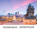 des moines iowa skyline in usa... | Shutterstock . vector #1054476143