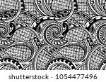 tribal pattern in ethnic maori... | Shutterstock .eps vector #1054477496