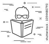 man with glasses reading a big...   Shutterstock .eps vector #1054480793