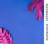tropical and palm leaves in...   Shutterstock . vector #1054481456