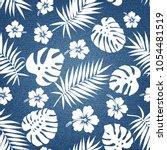 tropical pattern on denim... | Shutterstock .eps vector #1054481519