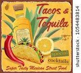 vintage tacos and tequila ... | Shutterstock .eps vector #1054483814